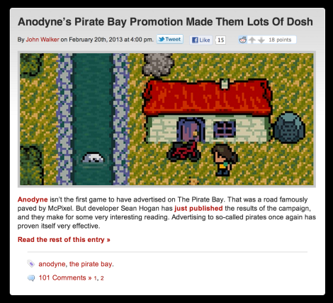 Anodyne's Pirate Bay Promotion Made Them Lots Of Dosh